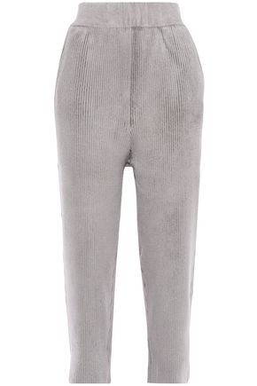 SALLY LAPOINTE Cropped ribbed chenille straight-leg pants