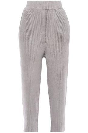SALLY LAPOINTE بنطلون قصير بأرجل مستقيمة من قماش تشينيل المضلع