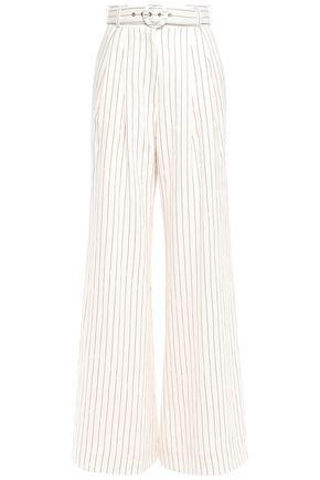 ZIMMERMANN Belted pinstriped linen wide-leg pants