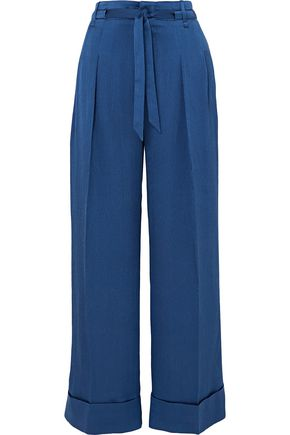 ROLAND MOURET Perkins silk-blend jacquard wide-leg pants