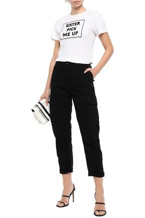 Re/done Pants RE/DONE WOMAN CROPPED COTTON-GABARDINE TAPERED PANTS BLACK