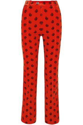 CHLOÉ Printed cotton-blend corduroy slim-leg pants