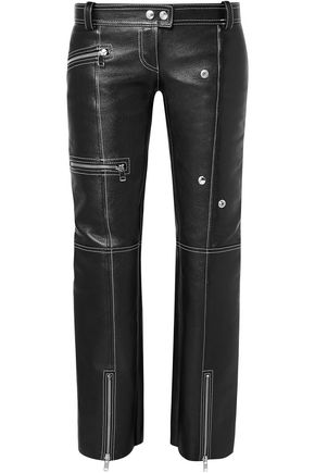 ALEXANDER MCQUEEN Zip-detailed textured-leather straight-leg pants