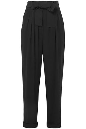 BALMAIN Belted pleated crepe tapered pants