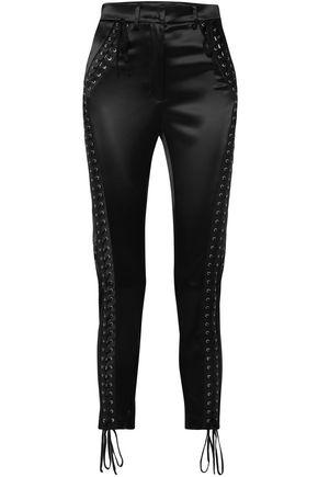 DOLCE & GABBANA Cropped lace-up satin slim-leg pants