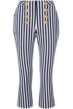 BALMAIN Cropped button-embellished striped cotton-twill flared pants