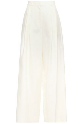 ZIMMERMANN Moncur pleated silk-shantung wide-leg pants