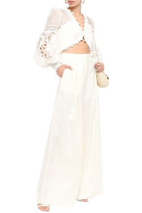 Zimmermann Moncur Pleated Silk-shantung Wide-leg Pants In Ivory