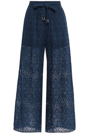 ZIMMERMANN Cropped broderie anglaise cotton and silk-blend wide-leg pants