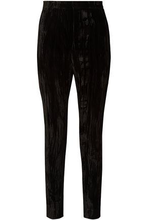 SAINT LAURENT Crushed-velvet slim-leg pants