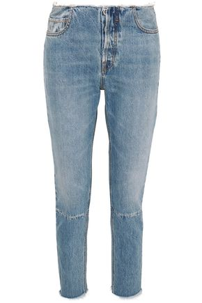 BEN TAVERNITI™ UNRAVEL PROJECT Distressed mid-rise slim-leg jeans