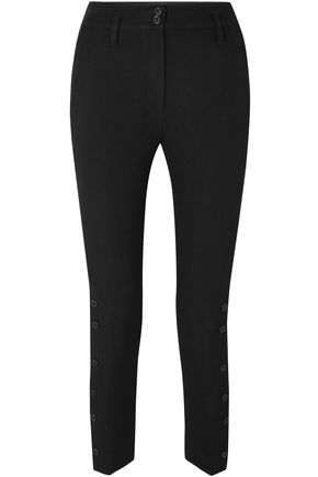 ANN DEMEULEMEESTER Cropped wool and cotton-blend twill skinny pants
