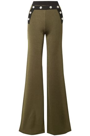 BALMAIN Button-embellished stretch-knit flared pants