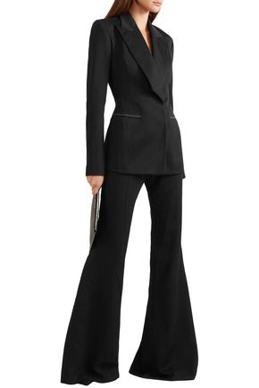 Mugler Pants MUGLER WOMAN WOOL-TWILL FLARED PANTS BLACK