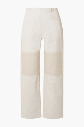 TRE by NATALIE RATABESI The Missy two-tone linen and cotton-blend straight-leg pants