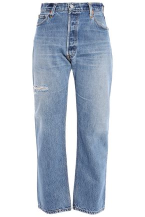 RE/DONE with LEVI'S Cropped distressed high-rise straight-leg jeans