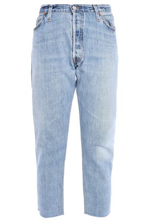 RE/DONE with LEVI'S Cropped frayed faded high-rise tapered jeans