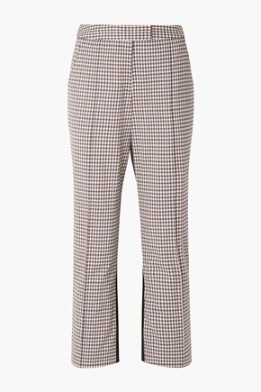 ROSIE ASSOULIN The Scrunchy checked stretch-wool blend and twill flared pants