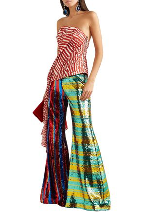 Halpern Striped Sequined Tulle Flared Pants In Multicolor