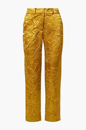 SIES MARJAN Willa crinkled satin-twill straight-leg pants