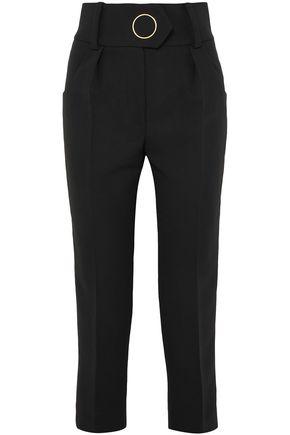 PETAR PETROV Velvet-trimmed wool straight-leg pants