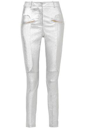 SIES MARJAN Brin zip-detailed metallic textured-leather skinny-leg pants