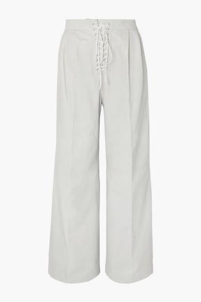 BEN TAVERNITI™ UNRAVEL PROJECT Lace-up leather wide-leg pants
