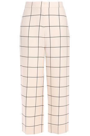 VALENTINO Cropped checked wool and silk-blend straight-leg pants