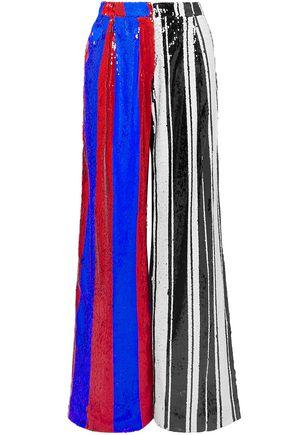 HALPERN Striped sequined tulle wide-leg pants