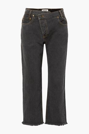 MONSE Cropped printed leather-trimmed boyfriend jeans