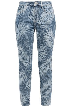 CURRENT/ELLIOTT Frayed printed mid-rise slim-leg jeans