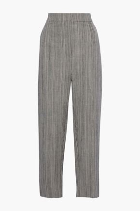 JOSEPH Haim Prince of Wales checked cotton and linen-blend wide-leg pants