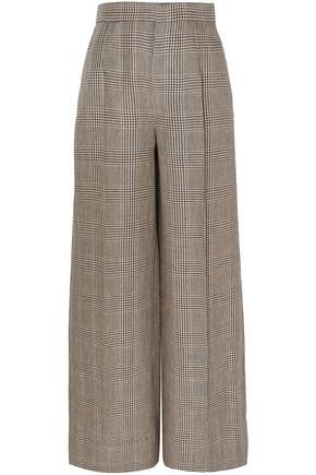 BRUNELLO CUCINELLI Prince of Wales checked linen wide-leg pants