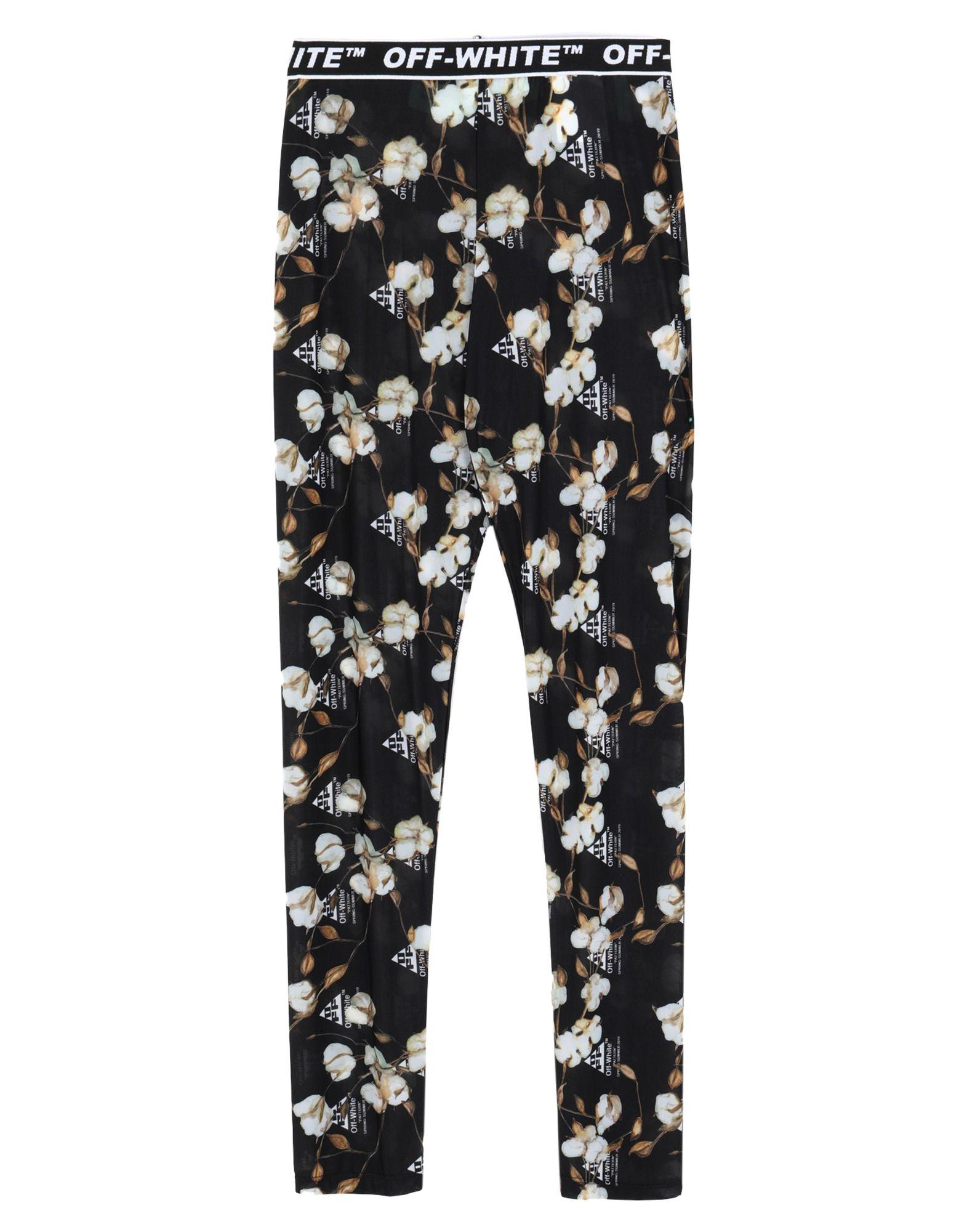 OFF-WHITE™ Leggings. jersey, logo, floral design, mid rise, elasticized waist, stretch. 80% Polyamide, 20% Elastane