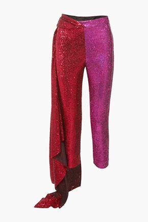 HALPERN Draped tulle-paneled sequined satin straight-leg pants