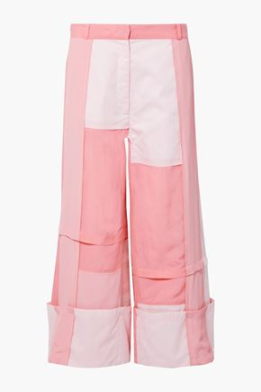 J.W.ANDERSON Paneled crepe de chine, cotton and washed-satin wide-leg pants