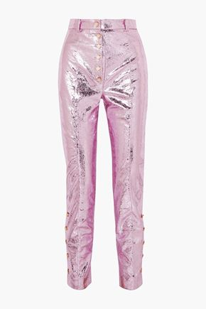 HILLIER BARTLEY Glam metallic crinkled coated-faux leather straight-leg pants