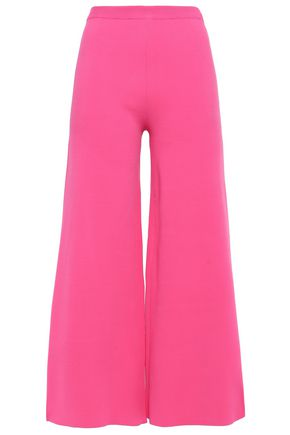 MOSCHINO Cropped stretch-knit wide-leg pants