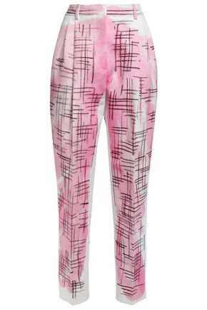 MOSCHINO Pleated printed cotton and linen-blend tapered pants