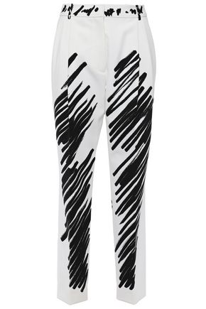 MOSCHINO Cropped printed piqué tapered pants