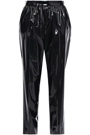 BOUTIQUE MOSCHINO Gathered cotton-blend vinyl tapered pants