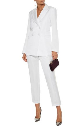 Les HÉroÏnes By Vanessa Cocchiaro The Bentley Cropped Grosgrain-trimmed Shantung Slim-leg Pants In Ivory