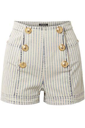 BALMAIN Button-embellished striped denim shorts