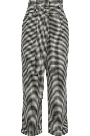 EACH X OTHER Belted houndstooth wool wide-leg pants