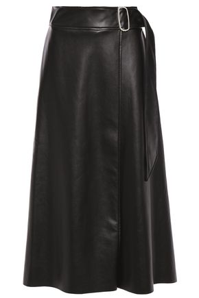 EACH X OTHER Buckle-embellished faux leather midi wrap skirt