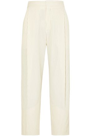 CHLOÉ Cropped pinstriped woven tapered pants