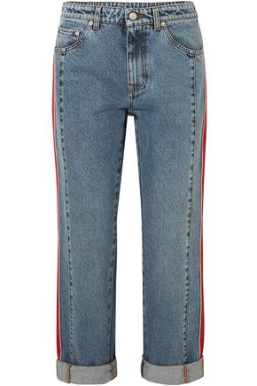 ALEXANDER MCQUEEN Striped grosgrain-trimmed boyfriend jeans
