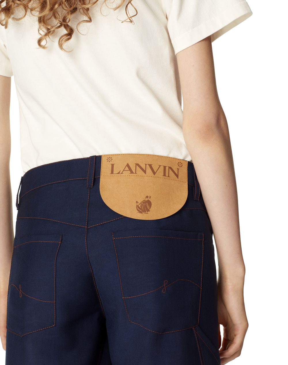 TWISTED STITCHES 7/8 DENIM TROUSERS IN WOOL AND MOHAIR - Lanvin