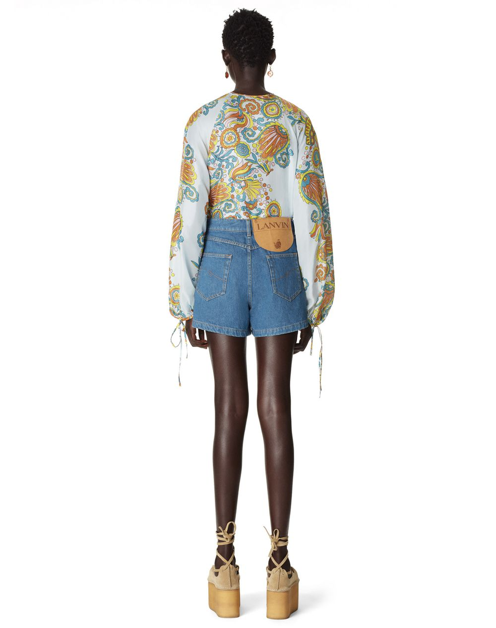 ASYMMETRC DENIM SHORTS - Lanvin