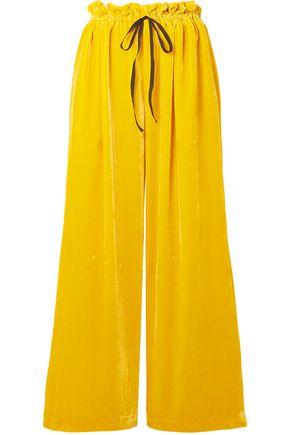 CECILIE BAHNSEN Oversized grosgrain-trimmed velvet wide-leg pants